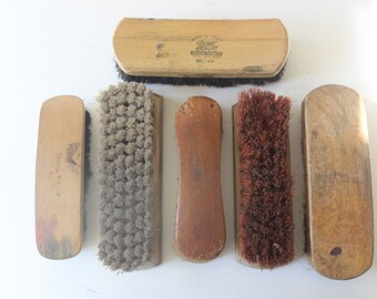 Vintage Shoe Shine Brush Collection Wooden Handled Brushes Shoe Shine Kit Vintage Shoe Shine Kit Shoe Shine Brush Collection Man Cave Decor