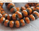 10% off ROASTED No. 2 .. 10 Premium Picasso Czech Glass Rondelle Beads 6x8mm (4767-10)