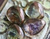 10% off ALLURE .. 6 Picasso Czech Glass Drop Beads 16x12mm (1707-6)