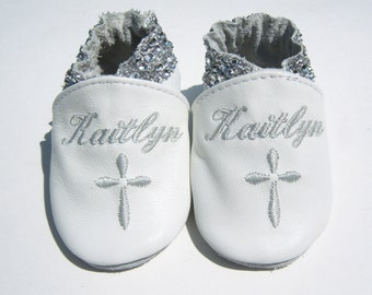 Baby girl christening booties - fancy baptism shoes for girls - Genuine leather baptism girl shoes