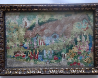 antique framed tapestry country cottage 6x4 inches
