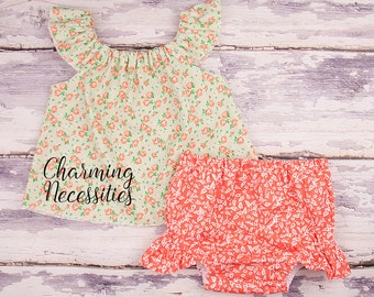 Baby Girl Clothes, Toddler Girl Clothes, Baby Girl Coming Home Outfit,  Baby Shower,  Flutter Top and Diaper Cover in Marmalade Orange Green