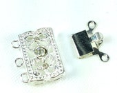 3 Strand 13X22mm Box Clasp Silver Plate Over Base Metal Push Pull Clasp - Sold Individually