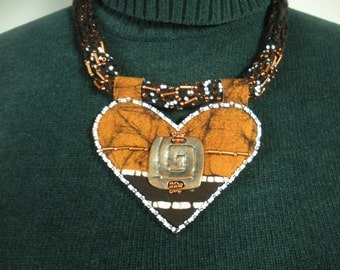 FREE SHIP Curry Batik Heart Copper beaded necklace with copper concho, white beadwork  - BearlyArtDesigns
