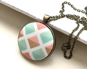 Fabric Pendant Neclace-Tribal Pendant Necklace-Statement Necklace-Jewelry-Diamond Print-Pastel