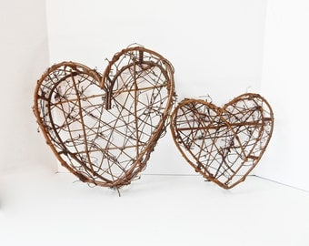 2 Large Grapevine Heart Baskets Wedding Shower Baby