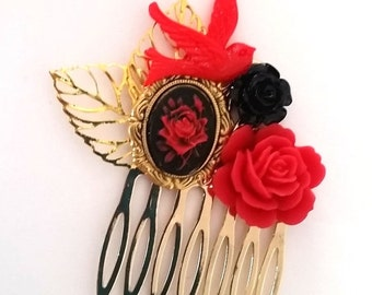 ON SALE Red Rose Small Cluster Hair Comb - Fascinator Kitschy Cool Offbeat Wedding Bride Rose Bird
