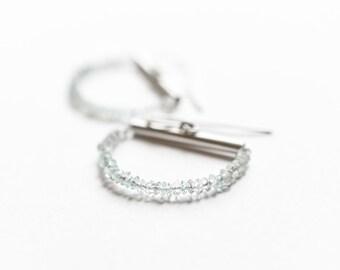 Aquamarine Earrings, Aquamarine Sterling Silver Hoops, Hoop Earrings, Aquamarine Raw Hoops, Gemstone Jewelry, Aquamarine Jewelry