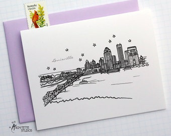 Louisville, Kentucky - United States - City Skyline Series - Folded Cards (6)
