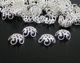 Silver Bead Cap 100 Flower Filigree Shiny Bright Victorian Bendable Fancy 11mm (1050cap11s1)xz