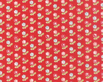 """End of Bolt - 23"""" left * Vintage Picnic Red Little Daisies 55121 11, by Bonnie Camille for Moda, Floral, Pink  Thimble Blossoms, Cotton Way"""