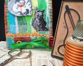 cat needle case, Emily the strange needle book, halloween needle storage,handmade needlebook,sewing kit,stocking stuffer, gift under 15, n9