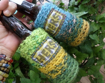 Hers and Hers, Beer cozy,  Lesbian gift, besties gift, beer wrap, two brides, lgbt, glbt, two girls, beer gift, C08, girlfriends gift