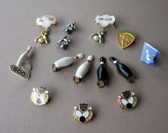 Bowling Award Lapel Pins Lot of 10 and 2 Pair Bowling Pins Clip Earrings