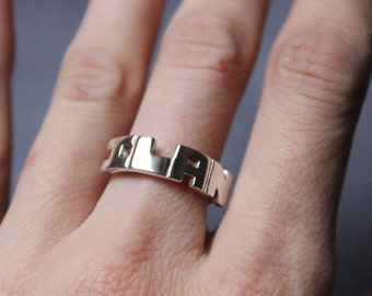 Monogram Personalized Initial ring, alphabet, letter, sterling silver, bridesmaid gift, name custom ring, personalized Jewelry made to order
