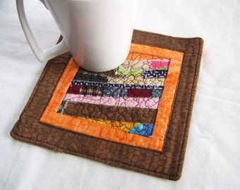 Scrappy Strings Mini Quilt, Mug Rug or Coaster in Orange and Brown
