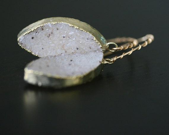 Druzy Earrings, Natural Druzy Earrings, Gold Dipped Druzy, Druzy Jewelry, Drusy Earrings, Light Druzy Earrings, Dangle Earrings