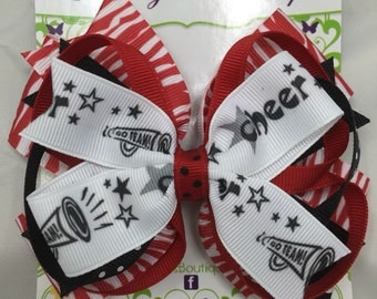 Large Layered Red, Black, and White Cheer Bow