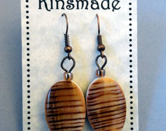 Earrings Brown Cone Shell Seashell Beads Oval Focal Bead Dangle Earrings for pierced ears french hook rootbeer brown and white on copper
