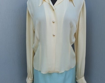Vintage Lee Mar Ivory or Creamy White Blouse, High Quality Unique Blouse  -- Suit or Career Blouse by Lee Mar California