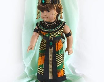 Doll Costume 18 inch Doll Egyptian Princess Costume Fantasy Doll Costume Black-Orange-Green Fantasy Costume Am Girl Doll Egyptian Costume