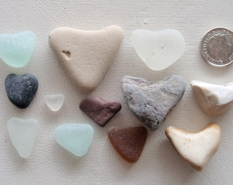 Genuine English sea glass 12 seaglass/pebble  hearts,  as found  for crafts & jewelry