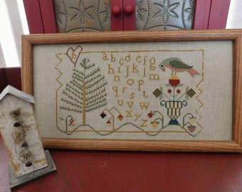 Completed Cross Stitch Framed Sampler, Primitive Folk Art, Farmhouse Decoration, Sheepish Designs, Ready To Ship Free Shipping