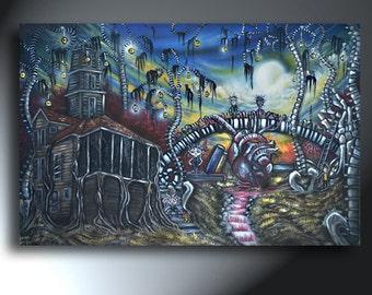 Horror Painting Spooky Landscape Original Artwork Size 24 X 36 Spine Trees