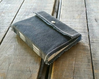 Black Jean Slim Sketchbook, Small Soft Cover Denim Journal Snap Closure, Repurposed Blue Denim Art Journal, Handmade Upcycled Denim Journal