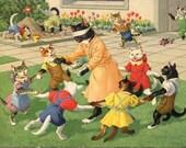 Blindman's bluff, games Mainzer dressed cats Postcard no. 4699 cat postcard,Max Kunzli  cats postcard, Alfred Mainzer cats postcard