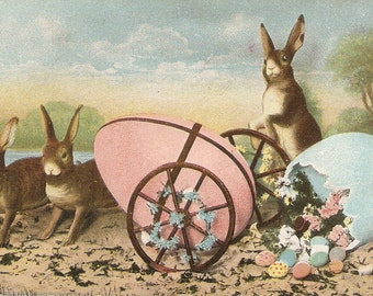 Easter Postcard, Bunny Rabbits, colorful eggs on cart, Easter  eggs vintage postcard, SharonFosterVintage