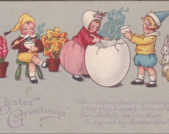 EASTER vintage post card; Greetings, Children eating soup from egg shell, Rabbit and Chick, Potted plants, Poem vintage postcard