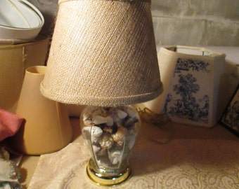 Seashell lampshade etsy small seashell filled lamp natural burlap lampshade all sizes and shapes can be listed mozeypictures Images