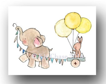 Nursery Wall Art -- JOYRIDE -- Elephant and Bunny Wall Art, Elephant Wall Art, Bunny Wall Art, Balloon Art, Children's Wall Art