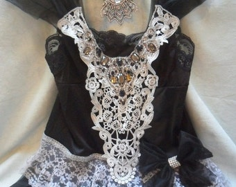 30% OFF - June Sale TUNIC Top Holidays Cami Romantic Rhinestones Lace - Vintage Cami Make Over - Black and Gray