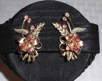 1950s Vintage Pink and Gold Tone Floral Climber Earrings with Rhinestones Clip On Style