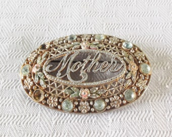 1930s Vintage Mother Brooch With Aqua Rhinestones Pink Flowers