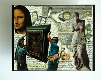 Paris Louvre Mona Lisa Venus de Milo Art Collage. A Moveable Feast, Hemingway, Paris Map, Gift for Her or Him, Vintage Retro Shabby Chic