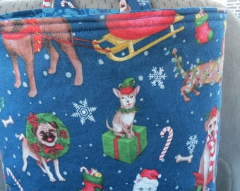 Car Trash Bag Reusable in Dogs Dressed in Winter and Holiday Attire on a Dark Blue, Car Accessory, Litter Bag