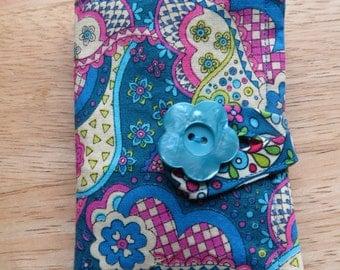 Tea Wallet in Fuchsia, Aqua, Lime Green, and Blue Paisley and Flowers, Tea Bag Holder