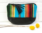 round leather zip bag, navajo fabric, recycled leather, makeup bag, purse, wallet, phone bag, eyeglass case, sunglass holder, travel, tassel