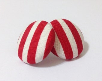 Red and White Striped Fabric Button Earrings