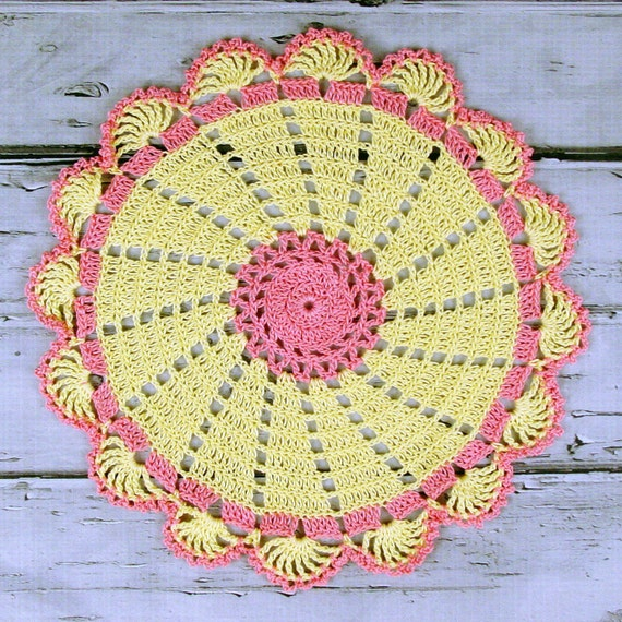 Lovely Crocheted Retro Style Yellow Pink Doily Table Topper - 10 1/2 inches