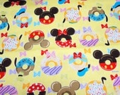 Week end special offer 1 meter Disney Cartoon Mickey and  Minnie Mouse  Print Japanese fabric Doughnut