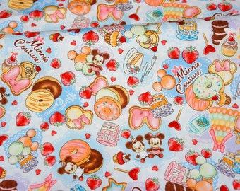 1 meter Disney Cartoon  Minnie Mouse Minnie Couture and  sweets Print Japanese fabric