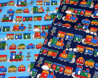 Train print Japanese fabric haf meter 50 cm by 106 cm or 19.6 by 42 inches A8