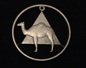 AA Alcoholics Anonymous Bronze Token - cut coin pendant  - w/ Pyramid and Camel