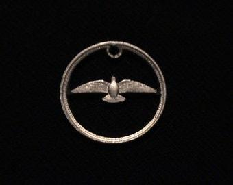CANADA - cut coin pendant - Dove - 1967