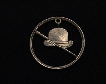 Vintage Token Hand cut into Odd Pendant -  Derby Hat and Walking Staff - For The Burgeoning Pimp In Your Life