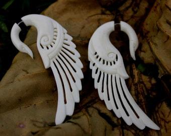 White Swan Earrings,Fake Gauge Earrings, Hand Craved Natural  Bone Split Gauge Earrings fake piercings tribal style swans